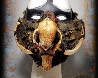 Half mask-Post apocalyptic half mask-tribal style-Fox skull-Wasteland Warrior