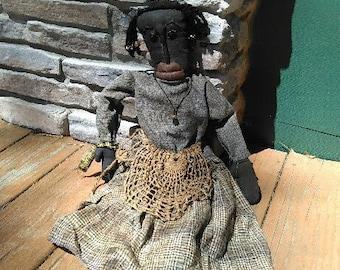 "Miss Vivian Vintage Handmade Cloth Rag Doll 27"""