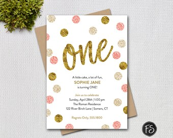 Pink and Gold First Birthday Invitation, Pink Gold Glitter ONE Printable Digital Invitation, 1948