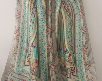 Silk Vintage Scarf, Pure Silk Shawl, Large Oblong scarf, Gift for her, Colored scarf, Indian Prints, Scarf For Woman, Summer scarf