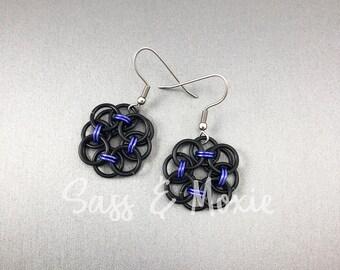 Black and Purple Helm Flower Earrings