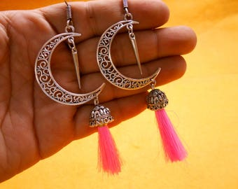 Ethnic Afgani Traditional .925 Silver Plated Pink Bohomeian Moon Design Jhumkia Jhumki Earring SER922