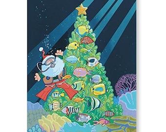 Scuba Diving Santa Holiday Card - 18 Cards & Envelopes - KX298