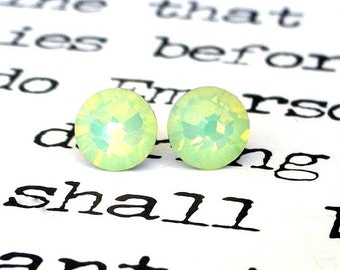 Chrysolite Opal Swarovski crystal stud earrings, 7mm, opalescent seafoam green crystal posts, Swarovski gift, stocking stuffer