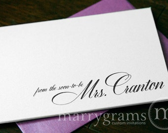 Wedding Bridal Shower Thank You Cards - From the Soon-to-Be Mrs. Thank You Notes - Elegant, Pink, Purple, Lagoon - Shower Gift (25ct) CS04