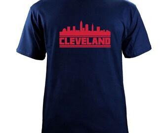 Original Cleveland Ohio Skyline Baseball Team Colors T-Shirt
