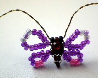 Beaded Purple Butterfly Pin