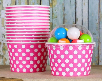 Large Polka Dot Pink Ice Cream Cups with Lids, Brownie Sundae Cups, Fruit Cups, Wedding Ice Cream Cups, Popcorn Cup, Candy Cup (8oz - 18 ct)