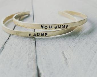 Best friends, BFF,Best Friend Bracelets,Skinny Cuff, You Jump & I Jump