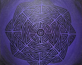 Modern painting: tribal purple.