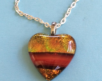 Dichroic Glass Heart Necklace