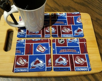 Quilted Fabric Coasters - Colorado Avalanche Fabric with Gray on Reverse - Set of 4