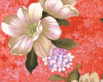 Deep Pink with Tan and Purple Flowers, Belle of the South, Fabri-Quilt,  #112-25851