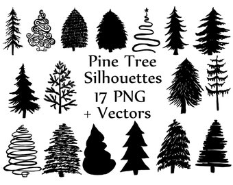 """Christmas Tree Silhouette clipart: """"PINE TREES CLIPART"""" Doodle trees clipart Vector Clipart Xmas Tree  Hollyday Clipart Tree scrapbooking"""
