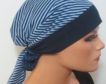 Head Scarf Cap/Turban Blues ideal headgear B. Chemotherapy Alopecia hair loss Chemomütze Cancer therapy Cabriotuch