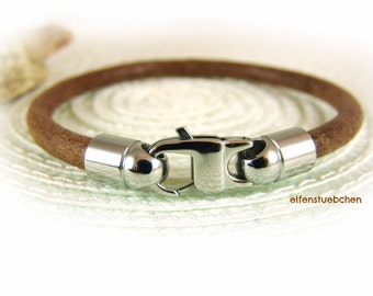 leather bracelet for men brown silver stainless steel - toasted almond - nappa men's bracelet - for him - his - brown used look