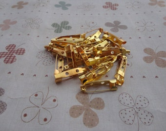 100 PCS 20mmX5mm gold metal bar pin back brooch Create Your Own Hair Accessories