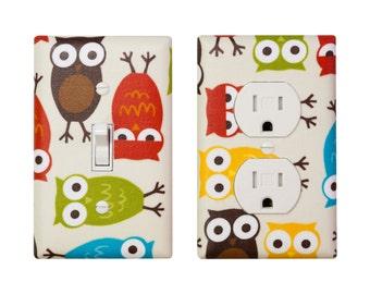Owl Light Switch Plate & Outlet Cover / Nursery Wall Decor / Children Kids Room / Bermuda Owls / Robert Kaufman