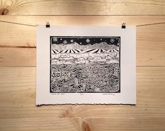"Fly fishing artwork by Jonathan Marquardt of BadAxeDesign ""Under the Foam"" linocut"