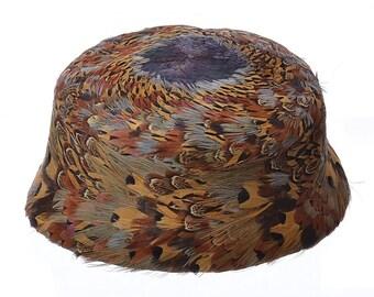 Vintage 50s 60s Pheasant Feather Pillbox Hat 1950s 1960s Urbi et Orbi of Yokohama Fascinator Mini Hat