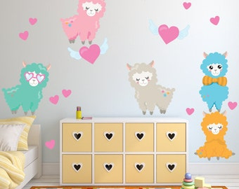Llama Wall Decal, Kids Room Wall Decal Stickers,  FABRIC Decals Reusable Non-toxic NO PVCs,  A254