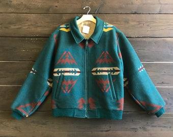 Vintage 80s Pendelton High Grade Western Wear Wool Zip Up Coat