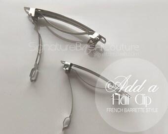 """Add a Hair Clip To My Veil   2.5"""" Wide Metal Hair Clip   3"""" Wide Metal Hair Clip   French Barrette Hair Clip"""