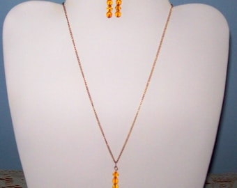 Citrine Glass Bead Necklace