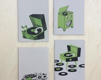 Jim Flora Deluxe O Tone RECORD PLAYERS 4 Different Mini Letterpress Prints