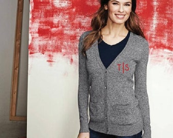 Womens Monogram Custom Embroidery Monogrammed Cardigan Sweater Quality Button up Sweater