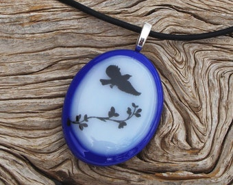 Blue and White Glass Oval Fused Glass Pendant Necklace - Black Bird Decal - Handmade Glass Jewelry - Nature Jewelry
