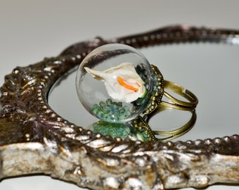 Lily Ring, Adjustable Ring, Glass Flower Ball Ring, Snow Globe Ring, Statement Ring, Glass Ball Ring, Cream Lily Jewelry, Glass Globe Ring