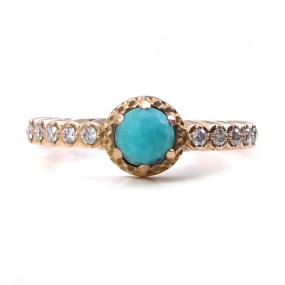 Rose Cut Turquoise and Diamond Engagement Ring - 14k Rose Gold Modern Art Deco Jewelry