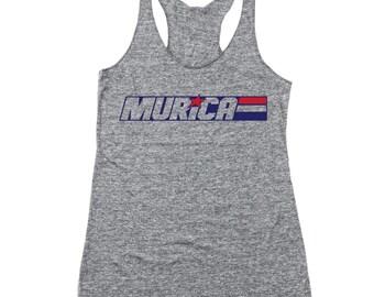 Murica Joe American America Fourth July 4Th Racer Back Tri-Blend Tank Top DT1882