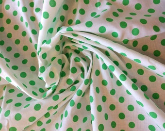 Fun green cotton polka dot fabric from the 1960s