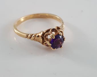 Vintage 10K Gold and Round Amethyst ring Size 6 February Birthstone for Her
