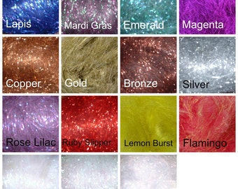 Crystal Metallic Blending Fiber in 15 colors. Sold by the 1/2 ounce. Similar to Angelina. Blend with fiber for spinning and felting
