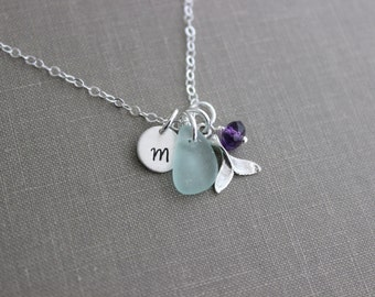 Sterling Silver Whale tail Necklace with Genuine Sea glass, birthstone and Initial charm disc, Beach Jewelry, Eco Friendly Fashion