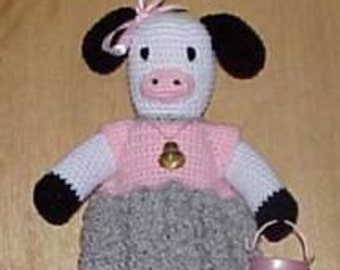 Cow CROCHET PATTERN Bag Holder Housewares