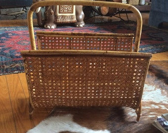 vintage bamboo and wicker magazine holder, book holder, bohemian style