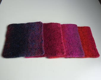 Felt coasters in Pink, red and purple