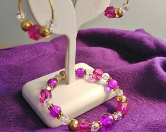 Handmade Stretch Beaced BRACELET and EARRINGS SET Fuscia Pink and Golden