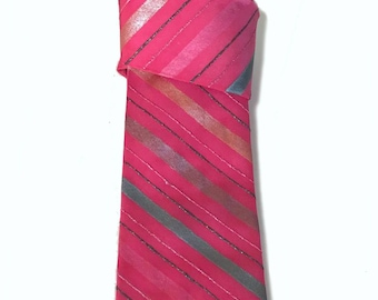 Tie with lines.Pink tie.Handpainted silk tie for man.Single copy.Necktie pattern.Unique tie.Gift for man.