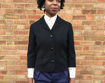 Black Women Jacket with 3 quarter sleeve and hand made details