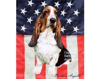 Basset Hound Flag, Basset Hound Gift, Basset Hound Patriotic Flag, Basset Hound American Flag, Basset Hound Art, Basset Hound