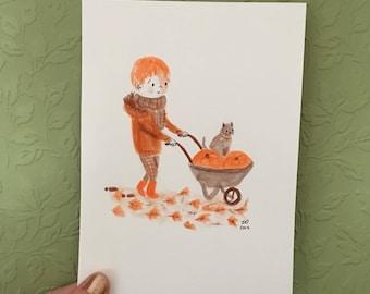 Pumpkin Wheelbarrow Original Drawing (Inktober 2017)