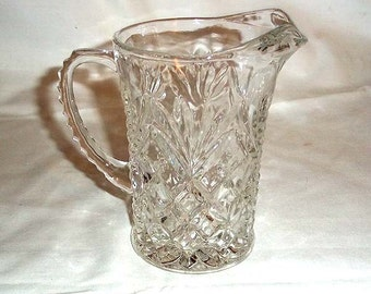 Lovely Vintage Pressed Glass Cream Pitcher - Diamonds and Fan Pattern -
