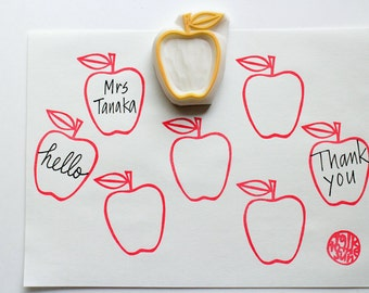 apple hand carved rubber stamp | fruit stamp | diy birthday holiday scrapbooking | handmade stationery