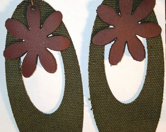Handmade Khaki Teardrop w-100% Genuine Leather Flower