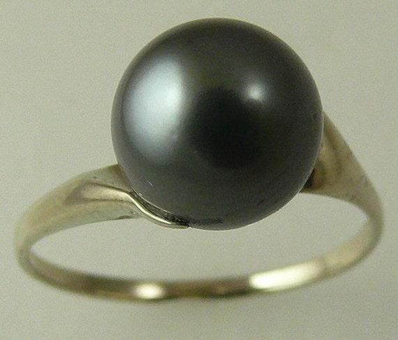 Tahitian Dark Gray 9.1mm Pearl Ring 14k White Gold